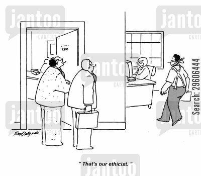 ethicist cartoon humor: 'That's our ethicist.'
