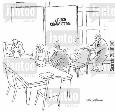 chairs cartoon humor: Man pulling a chair away before his colleague sits down in an ethics committee office.