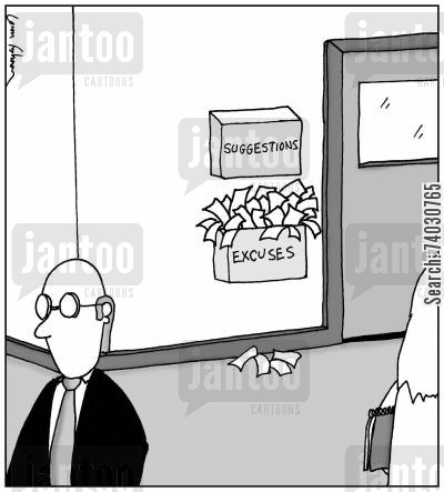 evaluation cartoon humor: Suggestions and Excuses Box