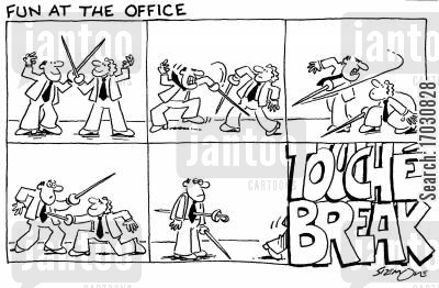 sword fight cartoon humor: Fun at the office: Touch