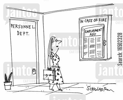emergency equipment cartoon humor: Personnel Dept. with employment ads stored in case of a fire.