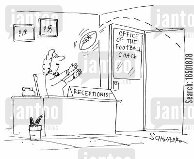 football coach cartoon humor: Office of the Football Coach