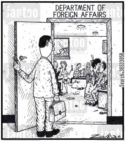 office romance cartoon humor: Department of Foreign Affairs Foreign Affairs staff and their Mistresses from various parts of the World,having some fun in the office, witnessed by a stunned member of the public.