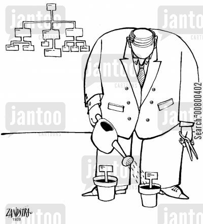 diagram cartoon humor: Man watering labels for a chart.