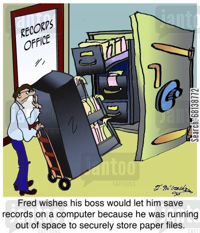 cabinet cartoon humor: Fred wishes his boss would let him save records on a computer because he was running out of space to securely store paper files.
