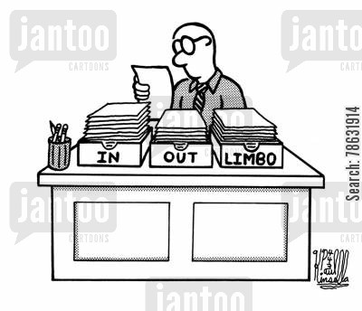desk organizers cartoon humor: In, Out, and Limbo (office desk)