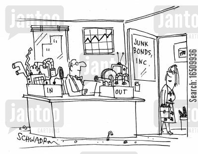 hoarding cartoon humor: Junk Bonds - In and Out trays.