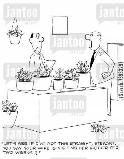 house plant cartoon humor: 'Let's see if I've got this straight, Stewart. You say your wife is visiting her mother for two weeks?'