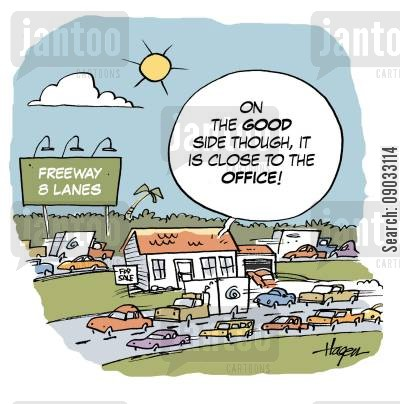 conjestion cartoon humor: 'On the good side though, it IS close to the office!'