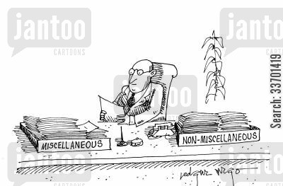 paper trays cartoon humor: 'Miscellaneous' and 'Non-Miscellaneous' trays