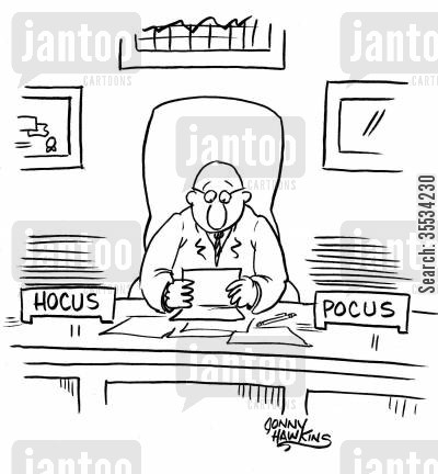 in boxes cartoon humor: Businessman with in and out boxes marked: 'Hocus' and 'Pocus'
