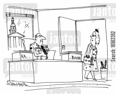 desk trays cartoon humor: Desk trays: 'Ka...' and '...Boom.'