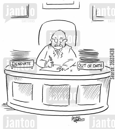 innovate cartoon humor: Businessman with two boxes: 'Innovate' and 'Out of Date'