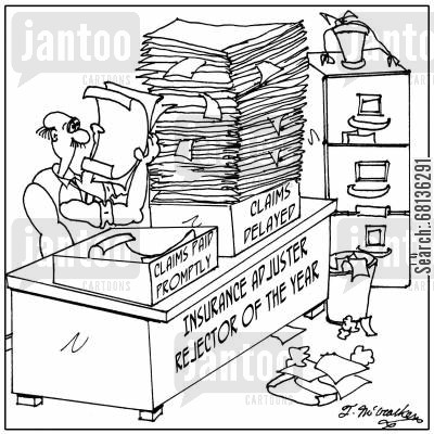 desk trays cartoon humor: 'Insurance Adjuster Rejector of the Year' 'Claims Delayed and Claims Paid Promptly'
