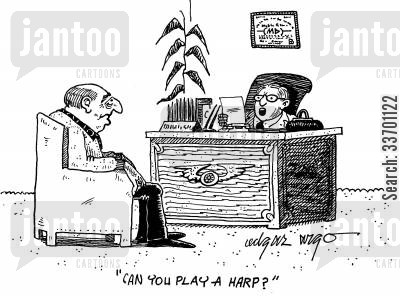 irrelevant questions cartoon humor: 'Can you play a Harp.'