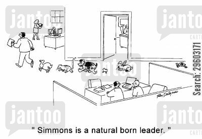 follows cartoon humor: 'Simmons is a natural born leader.'
