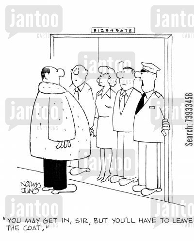 tight fit cartoon humor: 'You may get in, sir, but you'll have to leave the coat.'