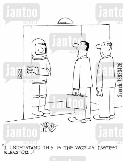 office block cartoon humor: 'I understand this is the world's fastest elevator,'