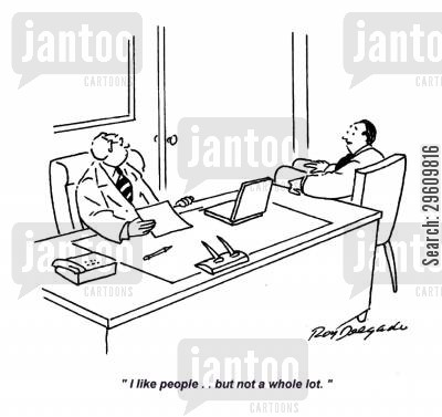 liking cartoon humor: 'I like people.. but not a whole lot.'