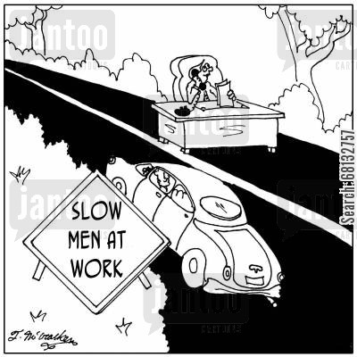 roadworks cartoon humor: Slow Men at Work