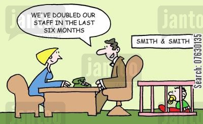 minimum wage cartoon humor: We've doubled our staff in the last six months!