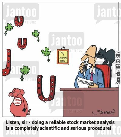market analysts cartoon humor: Listen, sir - doing a reliable stock market analysis is a completely scientific and serious procedure!