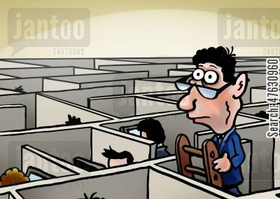 office block cartoon humor: Office labyrinth