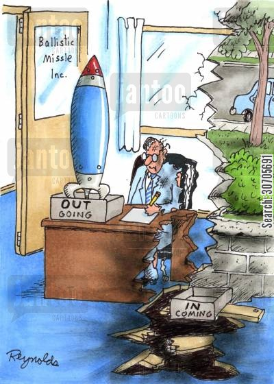 incoming cartoon humor: Missile company employee gets a missile in his 'incoming' tray.