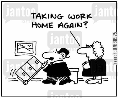 overtimes cartoon humor: 'Taking work home again?'