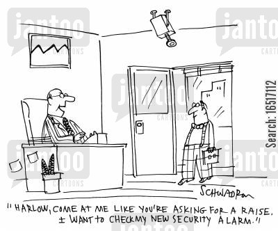 checked cartoon humor: 'Harlow, come at me like you're asking for a raise. I want to check my new security alarm.'