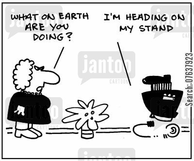 procastination cartoon humor: 'What are you doing? Heading on my stand.'