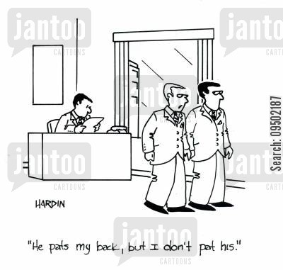 reciprocate cartoon humor: 'He pats my back, but I don't pat his.'