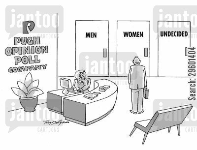 multiple choice cartoon humor: Men's, women's and undecided toilets in the office of an opinion poll company.