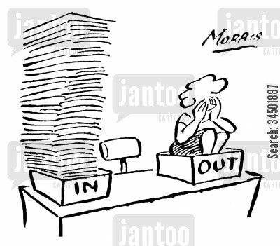 secretaries cartoon humor: In and Out Tray