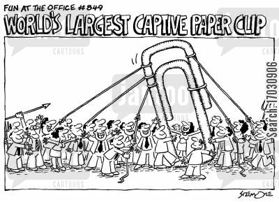 paperclip cartoon humor: Fun at the Office #849: WORLD'S LARGEST CAPTIVE PAPER CLIP