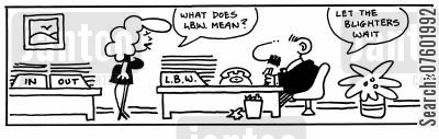 administrating cartoon humor: 'What does L.B.W. mean?'