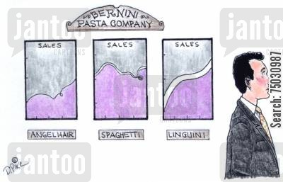 pastas cartoon humor: Executive walks past charts showing performance of different kinds of pasta.