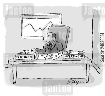 middle manager cartoon humor: InOut trays read 'pertinent' and 'impertinent'.