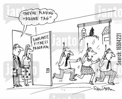 office game cartoon humor: 'They're playing 'phone tag'.'