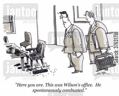 spontaneous human combustion cartoon humor: 'Here you are, This was Wilson's office, He spontaneously combusted,'