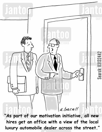 car dealer cartoon humor: Motivating new employees.