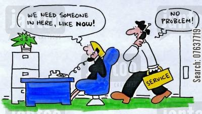 technicians cartoon humor: 'We need someone in here, like now.'