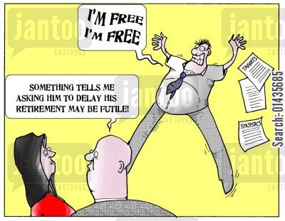 futility cartoon humor: 'Something tells me asking him to delay his retirement may be futile.'