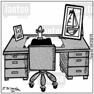 family photos cartoon humor: An executive with photo of both his wife and his sailboat on desk.