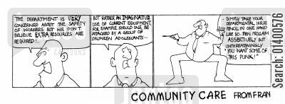 office stationery cartoon humor: STRIP *Community Care * Imaginative use of equipment