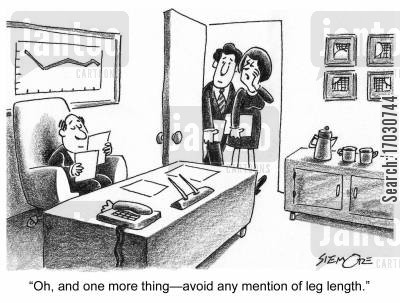 leg length cartoon humor: 'Oh, and one more thing