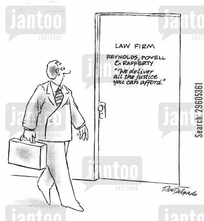 law office cartoon humor: 'We deliver all the justice you can afford.'