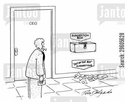 suggests cartoon humor: 'Out of the box' suggestions.