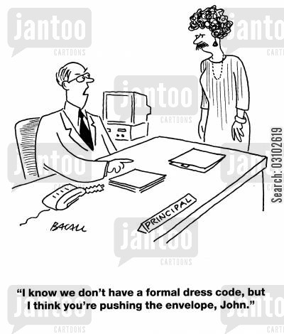 transvestites cartoon humor: 'I know we don't have a formal dress code, but I think you're pushing the envelope, John.'