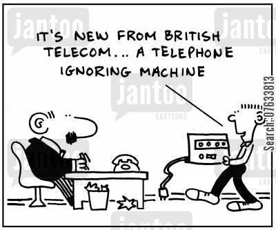 answer machines cartoon humor: It's new from British Telecom, a telephone ignoring machine.